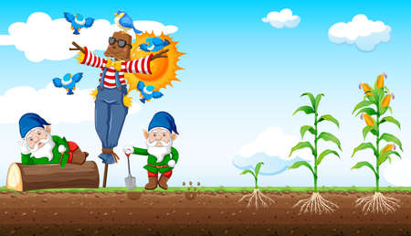 Illustration pour Gnomes and scarecrow cartoon style with corn farm and sky background illustration - image libre de droit