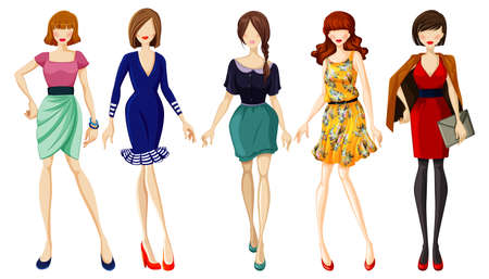 Illustration for Set of fashionable lady illustration - Royalty Free Image