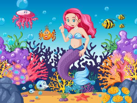 Illustration pour Mermaid and sea animal theme cartoon style on under sea background illustration - image libre de droit