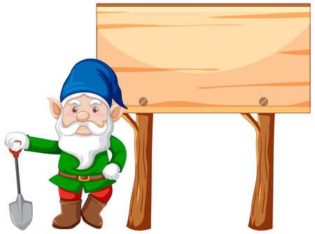 Illustration for Gnome holding shovel with blank banner cartoon style on white background illustration - Royalty Free Image