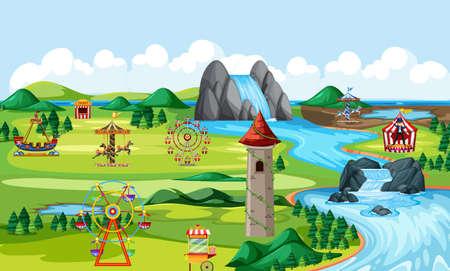 Illustration pour Theme amusement natural park landscape scene and many rides landscape scene illustration - image libre de droit