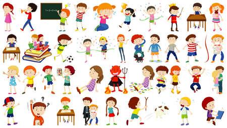 Illustration pour Set of cute kids cartoon character illustration - image libre de droit