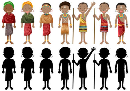 Illustration pour Ethnic people of African tribes in traditional clothing illustration - image libre de droit
