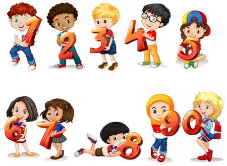 Illustration for Set of different children holding math number illustration - Royalty Free Image
