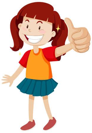 Ilustración de A girl with thumb up posing in happy mood isolated illustration - Imagen libre de derechos