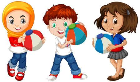 Ilustración de Different three kids holding colorful ball illustration - Imagen libre de derechos