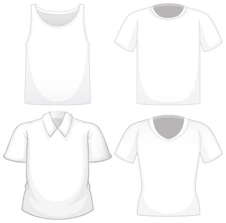 Illustration for Set of different white shirts isolated on white background illustration - Royalty Free Image