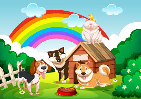 Illustration pour Dog group and a cat in the garden with rainbow scene illustration - image libre de droit