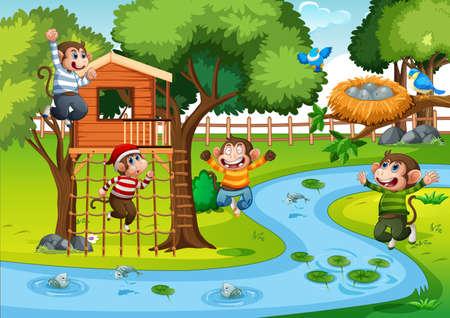 Illustration pour Five little monkeys jumping in the park scene illustration - image libre de droit