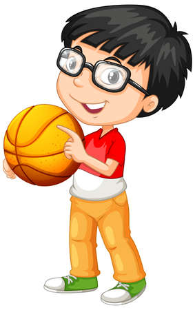 Ilustración de Cute youngboy cartoon character holding basketball illustration - Imagen libre de derechos