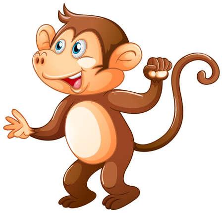 Illustration pour A cute monkey on white background illustration - image libre de droit