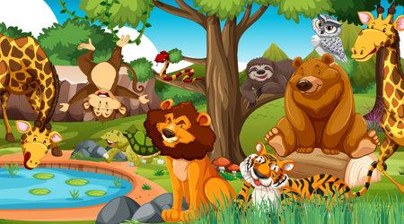Illustration pour Wild animals in the jungle illustration - image libre de droit