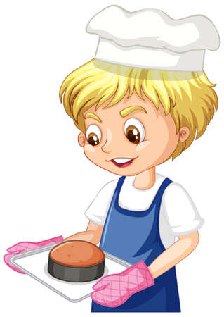 Illustration for Cartoon character of a chef boy holding tray of cake illustration - Royalty Free Image