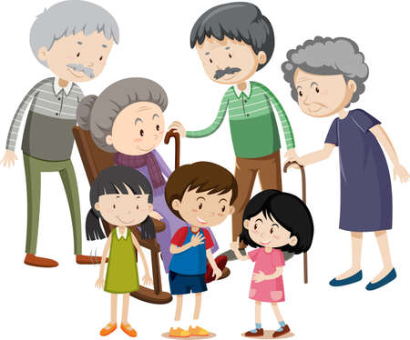Illustration for Member of family cartoon character on white background illustration - Royalty Free Image