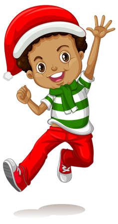 Ilustración de Cute boy wearing Christmas costumes cartoon character illustration - Imagen libre de derechos