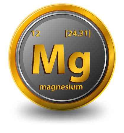 Illustration pour Magnesium chemical element. Chemical symbol with atomic number and atomic mass. illustration - image libre de droit