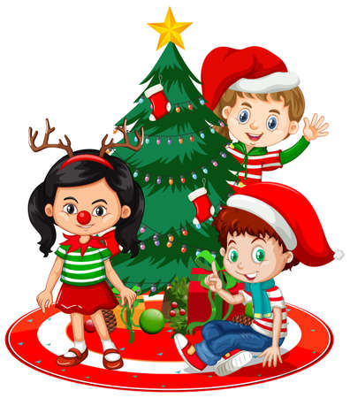 Illustration pour Children wear Christmas costume cartoon character with Christmas tree on white background illustration - image libre de droit