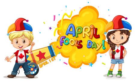 Illustration pour April Fool's Day font icon with children wearing jester hat illustration - image libre de droit