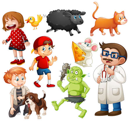 Illustration pour Set of fantasy cartoon character and animal isolated on white background illustration - image libre de droit