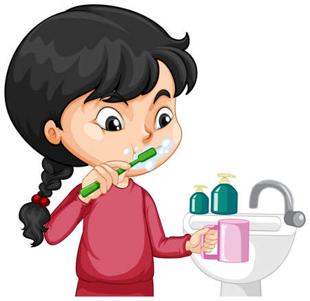 Illustration for A girl cartoon character brushing teeth with water sink illustration - Royalty Free Image