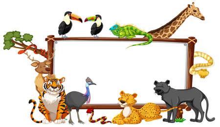 Illustration pour Empty banner with wild animals on white background illustration - image libre de droit