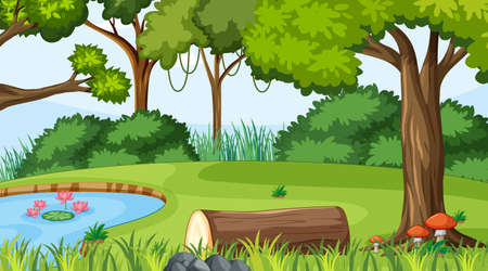 Illustration pour Forest landscape scene at day time with pond and many trees illustration - image libre de droit