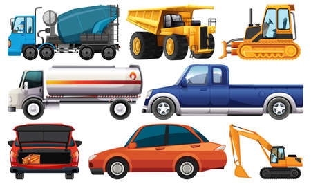 Illustration pour Set of different kind of cars and trucks isolated on white background illustration - image libre de droit