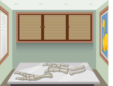 Illustration for Fossil of extinct dinosaur in the room illustration - Royalty Free Image