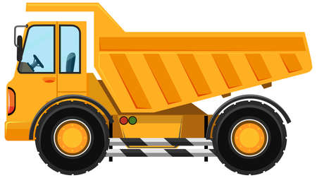 Illustration pour Heavy dump truck in cartoon style on white background illustration - image libre de droit