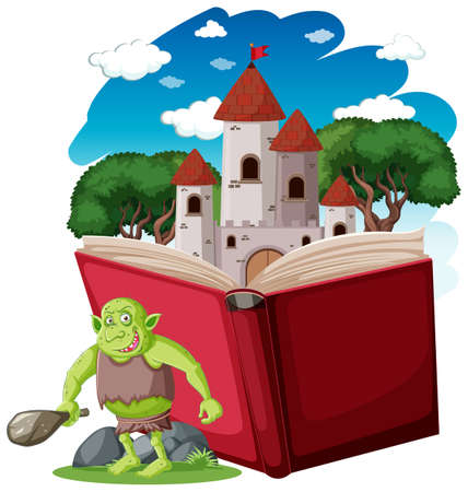 Illustration pour Goblin or troll cartoon character with a story book illustration - image libre de droit