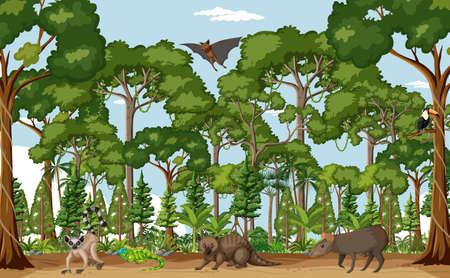 Illustration pour Tropical rainforest scene with various wild animals illustration - image libre de droit