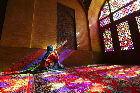 Iran Shiraz mosque pink shadows