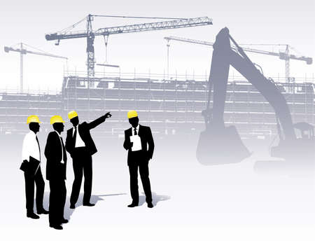 Illustration pour architects on a construction site - image libre de droit