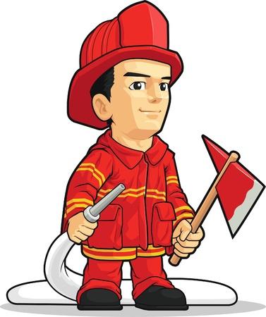 Cartoon of Firefighter Boy