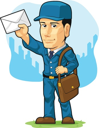 Cartoon of Postman or Mailman