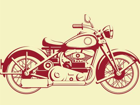 Photo pour Silhouette of Old Motorcycle - Profile View - image libre de droit