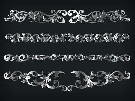 Photo pour Divider Silver Frame Victorian Ornamental Line Floral Isolated Vector - image libre de droit