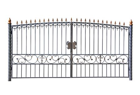 Forged decorative gates. Isolated over white background.