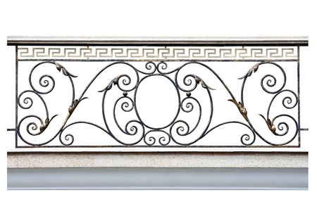 Decorative  fence of the balcony, gallerie in old-time stiletto. Isolated over white background.