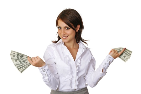 Cheerful young  woman  showing cash and smiling