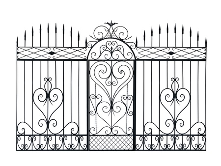 Old forged fence and door  decorated by ornament. Isolated over white background.
