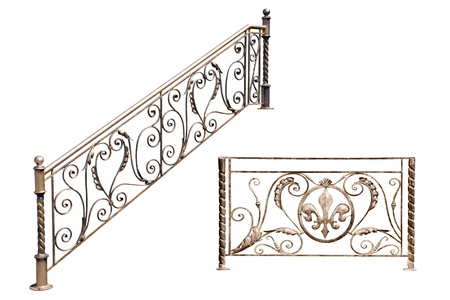 Decorative  fence of the stairways, balcony, gallerie in old-time stiletto. Isolated over white background.
