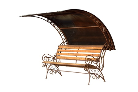 Forged decorative Pew with protection from sun and rain  Isolated over white background