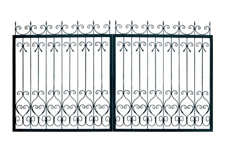 Light  forged  decorative gates.  Isolated over white background.