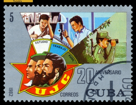 CUBA -CIRCA 1982: A Stamp printed in the Cuba  shows Youth Organizacion . 20 years  anniversary, circa 1982