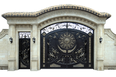 Photo pour Large wrought iron gates and doors.  Isolated over white background. - image libre de droit