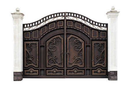 Photo pour Modern wrought iron gates in the old style.  Isolated over white background. - image libre de droit