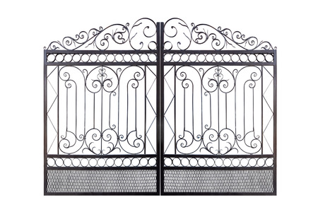 Photo pour Forged elegance openwork fence.  Isolated over white background. - image libre de droit