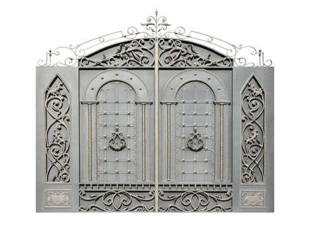 Photo pour Gate with wrought iron decor. Isolated on white background. - image libre de droit