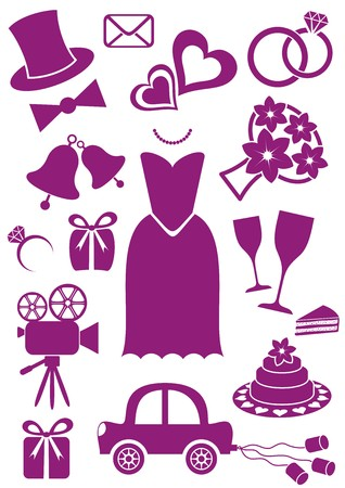 Set of violet silhouette icons for wedding cards and invitations